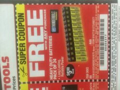 Harbor Freight FREE Coupon 24 PACK HEAVY DUTY BATTERIES Lot No. 61675/68382/61323/61677/68377/61273 Expired: 3/26/19 - FWP