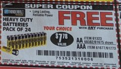 Harbor Freight FREE Coupon 24 PACK HEAVY DUTY BATTERIES Lot No. 61675/68382/61323/61677/68377/61273 Expired: 4/6/19 - FWP