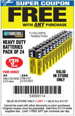 Harbor Freight FREE Coupon 24 PACK HEAVY DUTY BATTERIES Lot No. 61675/68382/61323/61677/68377/61273 Expired: 8/11/19 - FWP