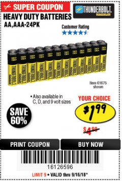 Harbor Freight Coupon 24 PACK HEAVY DUTY BATTERIES Lot No. 61675/68382/61323/61677/68377/61273 Expired: 9/16/18 - $1.99