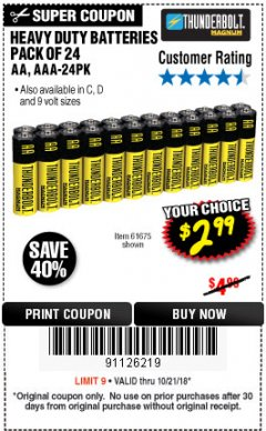 Harbor Freight Coupon 24 PACK HEAVY DUTY BATTERIES Lot No. 61675/68382/61323/61677/68377/61273 Expired: 10/22/18 - $2.99