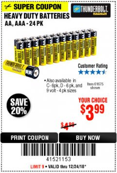 Harbor Freight Coupon 24 PACK HEAVY DUTY BATTERIES Lot No. 61675/68382/61323/61677/68377/61273 Expired: 12/24/18 - $3.99