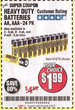 Harbor Freight Coupon 24 PACK HEAVY DUTY BATTERIES Lot No. 61675/68382/61323/61677/68377/61273 Expired: 9/5/19 - $1.99