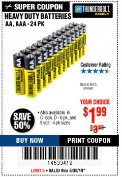 Harbor Freight Coupon 24 PACK HEAVY DUTY BATTERIES Lot No. 61675/68382/61323/61677/68377/61273 Expired: 6/30/19 - $1.99