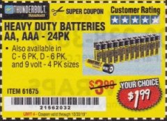 Harbor Freight Coupon 24 PACK HEAVY DUTY BATTERIES Lot No. 61675/68382/61323/61677/68377/61273 Expired: 9/30/19 - $1.99