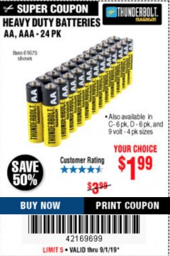 Harbor Freight Coupon 24 PACK HEAVY DUTY BATTERIES Lot No. 61675/68382/61323/61677/68377/61273 Expired: 9/1/19 - $1.99