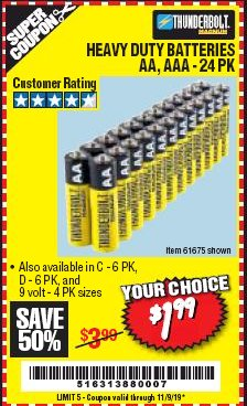 Harbor Freight Coupon 24 PACK HEAVY DUTY BATTERIES Lot No. 61675/68382/61323/61677/68377/61273 Expired: 11/9/19 - $1.99