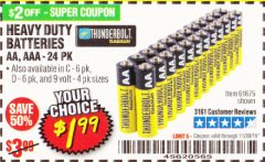 Harbor Freight Coupon 24 PACK HEAVY DUTY BATTERIES Lot No. 61675/68382/61323/61677/68377/61273 Expired: 11/30/19 - $1.99