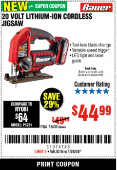 Harbor Freight Coupon 20 VOLT CORDLESS JIG SAW Lot No. 63630 Expired: 1/26/20 - $44.99