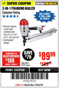 Harbor Freight Coupon 3-IN-1 FRAMING NAILER Lot No. 63455/64141/98751 Expired: 12/24/18 - $89.99