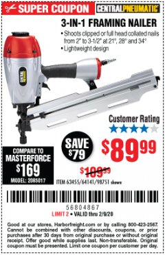 Harbor Freight Coupon 3-IN-1 FRAMING NAILER Lot No. 63455/64141/98751 Expired: 2/9/20 - $89.99