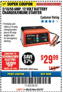 Harbor Freight Coupon 12 VOLT, 2/10/50 AMP BATTERY CHARGER/ENGINE STARTER Lot No. 66783/60581/60653/62334 Expired: 6/3/18 - $29.99