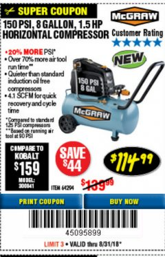 Harbor Freight Coupon MCGRAW 150 PSI, 8 GALLON, 1.5 HP HORIZONTAL COMPRESSOR Lot No. 64294/56269 Expired: 8/31/18 - $114.99