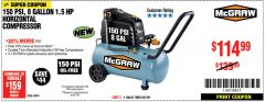 Harbor Freight Coupon MCGRAW 150 PSI, 8 GALLON, 1.5 HP HORIZONTAL COMPRESSOR Lot No. 64294/56269 Expired: 9/2/18 - $114.99