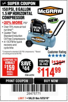 Harbor Freight Coupon MCGRAW 150 PSI, 8 GALLON, 1.5 HP HORIZONTAL COMPRESSOR Lot No. 64294/56269 Expired: 9/23/18 - $114.99