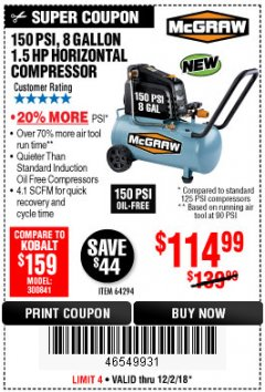 Harbor Freight Coupon MCGRAW 150 PSI, 8 GALLON, 1.5 HP HORIZONTAL COMPRESSOR Lot No. 64294/56269 Expired: 12/2/18 - $114.99
