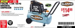 Harbor Freight Coupon MCGRAW 150 PSI, 8 GALLON, 1.5 HP HORIZONTAL COMPRESSOR Lot No. 64294/56269 Expired: 3/9/19 - $114.99