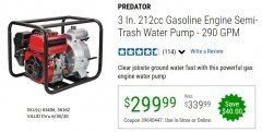 "Harbor Freight Coupon PREDATOR 3"" SEMI-TRASH GASOLINE ENGINE WATER PUMP Lot No. 63406/56162 EXPIRES: 6/30/20 - $299.99"