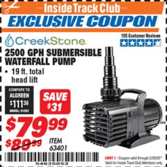 Harbor Freight ITC Coupon 2500 GPH SUBMERSIBLE WATERFALL PUMP Lot No. 63401 Expired: 2/29/20 - $79.99