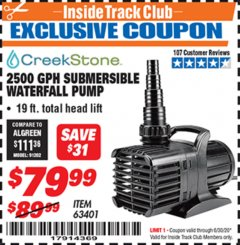 Harbor Freight ITC Coupon 2500 GPH SUBMERSIBLE WATERFALL PUMP Lot No. 63401 Dates Valid: 12/31/69 - 6/30/20 - $79.99
