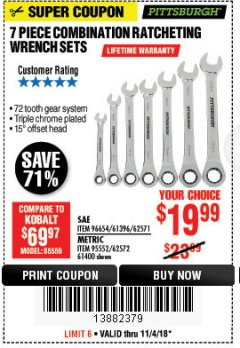 Harbor Freight Coupon 7 PIECE COMBINATION RATCHETING WRENCH SET Lot No. 62571 / 96654 / 61396 / 95552 / 62572 / 61400 Expired: 11/4/18 - $19.99