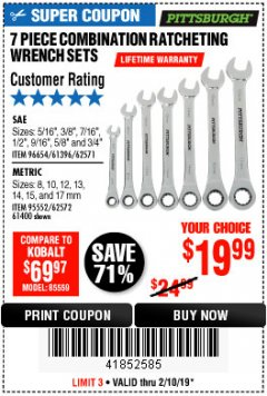 Harbor Freight Coupon 7 PIECE COMBINATION RATCHETING WRENCH SET Lot No. 62571 / 96654 / 61396 / 95552 / 62572 / 61400 Expired: 2/10/19 - $19.99