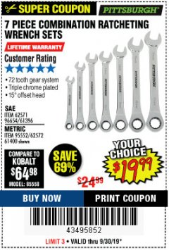 Harbor Freight Coupon 7 PIECE COMBINATION RATCHETING WRENCH SET Lot No. 62571 / 96654 / 61396 / 95552 / 62572 / 61400 Expired: 9/30/19 - $19.99