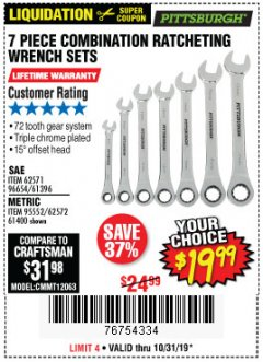Harbor Freight Coupon 7 PIECE COMBINATION RATCHETING WRENCH SET Lot No. 62571 / 96654 / 61396 / 95552 / 62572 / 61400 Expired: 10/31/19 - $19.99