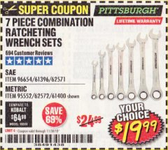 Harbor Freight Coupon 7 PIECE COMBINATION RATCHETING WRENCH SET Lot No. 62571 / 96654 / 61396 / 95552 / 62572 / 61400 Expired: 11/30/19 - $19.99