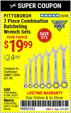 Harbor Freight Coupon 7 PIECE COMBINATION RATCHETING WRENCH SET Lot No. 62571 / 96654 / 61396 / 95552 / 62572 / 61400 Expired: 7/31/20 - $19.99