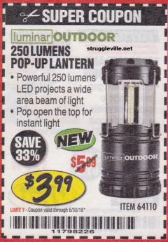 Harbor Freight Coupon 250 LUMENS POP-UP LANTERN Lot No. 64110 Expired: 6/30/18 - $3.99