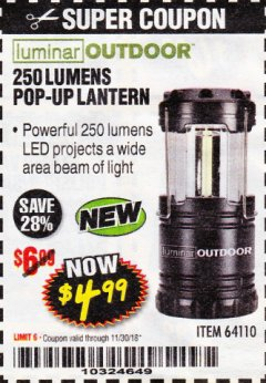 Harbor Freight Coupon 250 LUMENS POP-UP LANTERN Lot No. 64110 Expired: 11/30/18 - $4.99