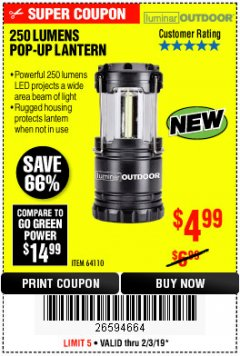 Harbor Freight Coupon 250 LUMENS POP-UP LANTERN Lot No. 64110 Expired: 2/3/19 - $4.99