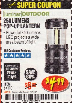 Harbor Freight Coupon 250 LUMENS POP-UP LANTERN Lot No. 64110 Expired: 7/31/19 - $4.99