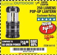 Harbor Freight Coupon 250 LUMENS POP-UP LANTERN Lot No. 64110 Valid Thru: 6/30/20 - $4.99