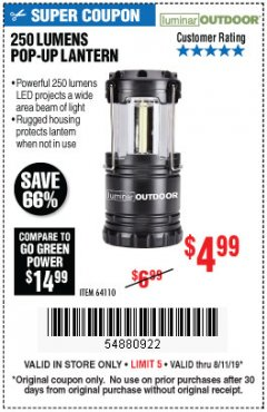 Harbor Freight Coupon 250 LUMENS POP-UP LANTERN Lot No. 64110 Expired: 8/11/19 - $4.99