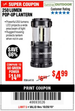 Harbor Freight Coupon 250 LUMENS POP-UP LANTERN Lot No. 64110 Expired: 10/20/19 - $4.99