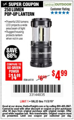 Harbor Freight Coupon 250 LUMENS POP-UP LANTERN Lot No. 64110 Expired: 11/3/19 - $4.99