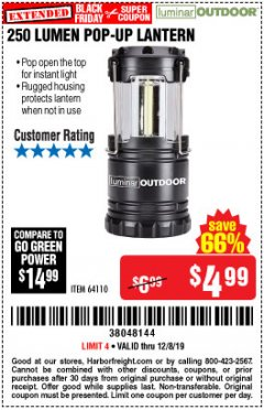 Harbor Freight Coupon 250 LUMENS POP-UP LANTERN Lot No. 64110 Expired: 12/8/19 - $4.99