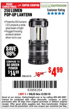 Harbor Freight Coupon 250 LUMENS POP-UP LANTERN Lot No. 64110 Expired: 12/26/19 - $4.99