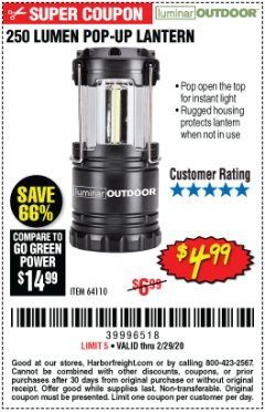 Harbor Freight Coupon 250 LUMENS POP-UP LANTERN Lot No. 64110 Expired: 2/29/20 - $4.99