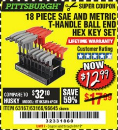 Harbor Freight Coupon 18 PIECE SAE AND METRIC T-HANDLE BALL END HEX KEY SET Lot No. 96645/62476/63166/63167 Expired: 6/1/19 - $12.99