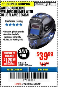 Harbor Freight Coupon AUTO-DARKENING WELDING HELMET Lot No. 63122 Expired: 5/20/18 - $39.99