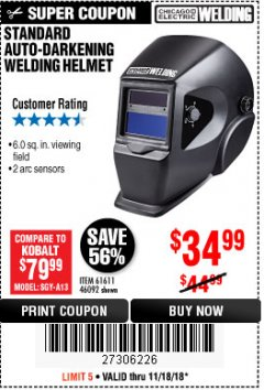 Harbor Freight Coupon AUTO-DARKENING WELDING HELMET Lot No. 63122 Expired: 11/18/18 - $34.99