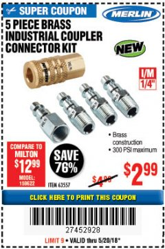 Harbor Freight Coupon 5 PIECE BRASS INDUSTRIAL COUPLER CONNECTOR KIT Lot No. 63557 Expired: 5/20/18 - $2.99
