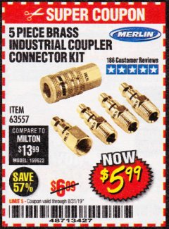 Harbor Freight Coupon 5 PIECE BRASS INDUSTRIAL COUPLER CONNECTOR KIT Lot No. 63557 Expired: 8/31/19 - $5.99