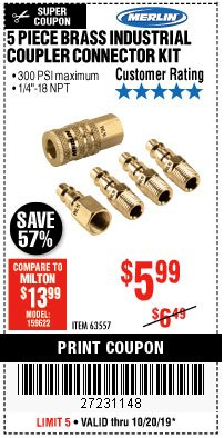 Harbor Freight Coupon 5 PIECE BRASS INDUSTRIAL COUPLER CONNECTOR KIT Lot No. 63557 Expired: 10/20/19 - $5.99