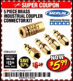 Harbor Freight Coupon 5 PIECE BRASS INDUSTRIAL COUPLER CONNECTOR KIT Lot No. 63557 Expired: 3/31/20 - $5.99