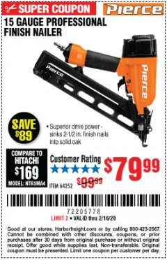 Harbor Freight Coupon PIERCE 15 GAUGE FINISH NAILER Lot No. 64252 Expired: 2/16/20 - $79.99
