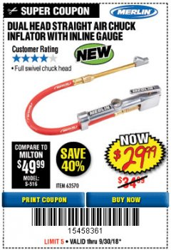 Harbor Freight Coupon DUAL HEAD AIR CHUCK INFLATOR WITH INLINE GAUGE Lot No. 63570 Expired: 9/30/18 - $29.99